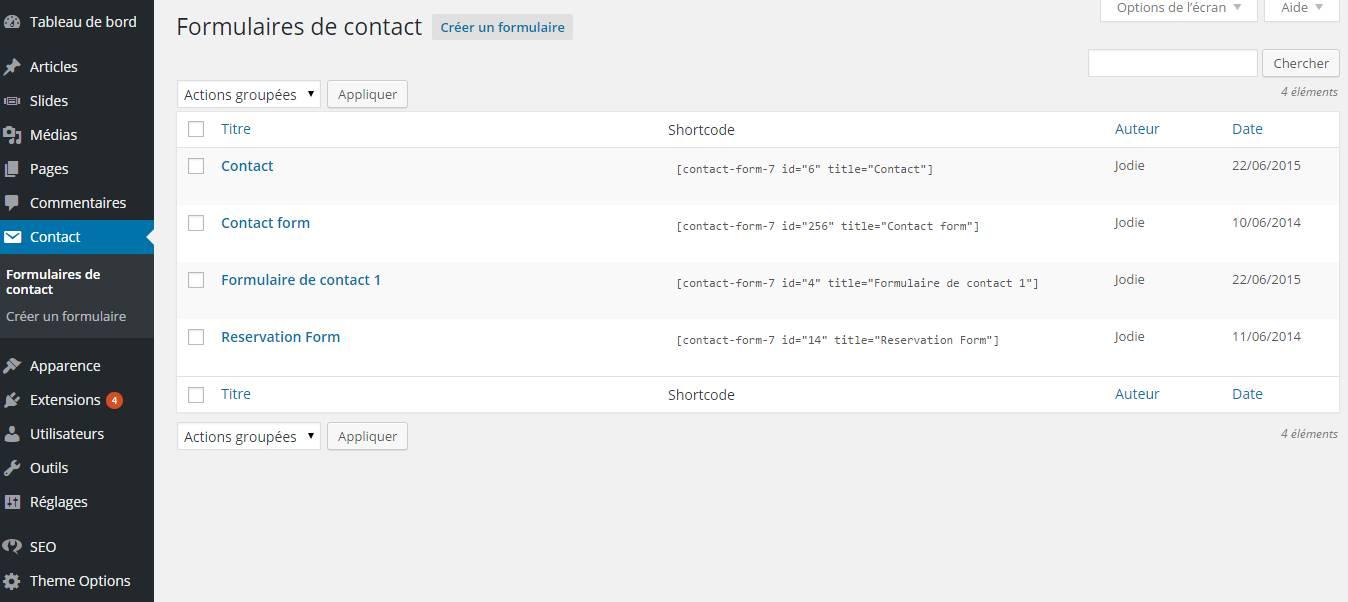 formulaire de contact créer un site wordpress