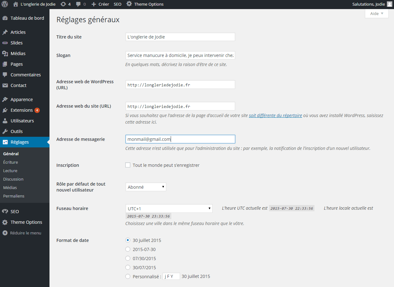 reglage tite description creer un site wordpress
