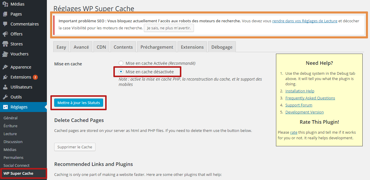 configurer extension super cache