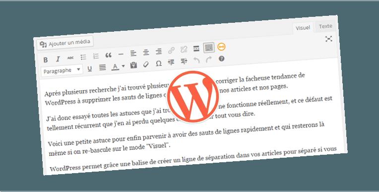 creer un saut de ligne editeur wordpress
