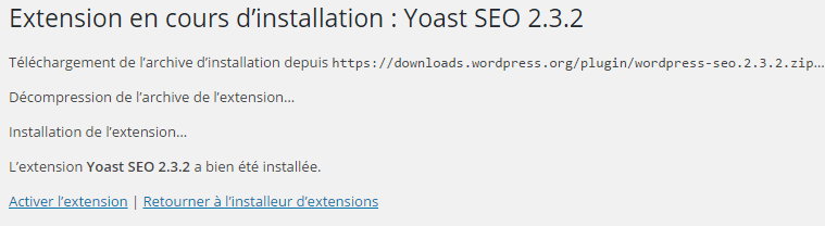 extension en cours d'installation wordpress seo yoast