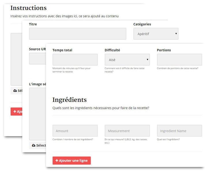 formulaire soumettre recette cuisine wordpress