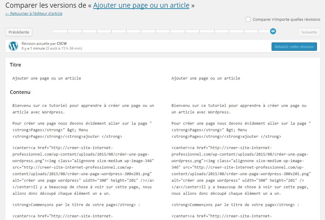 outil de révisions wordpress