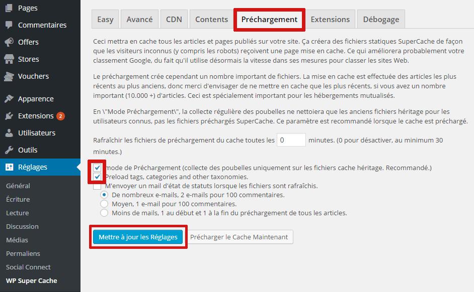 paramètre wp super cache