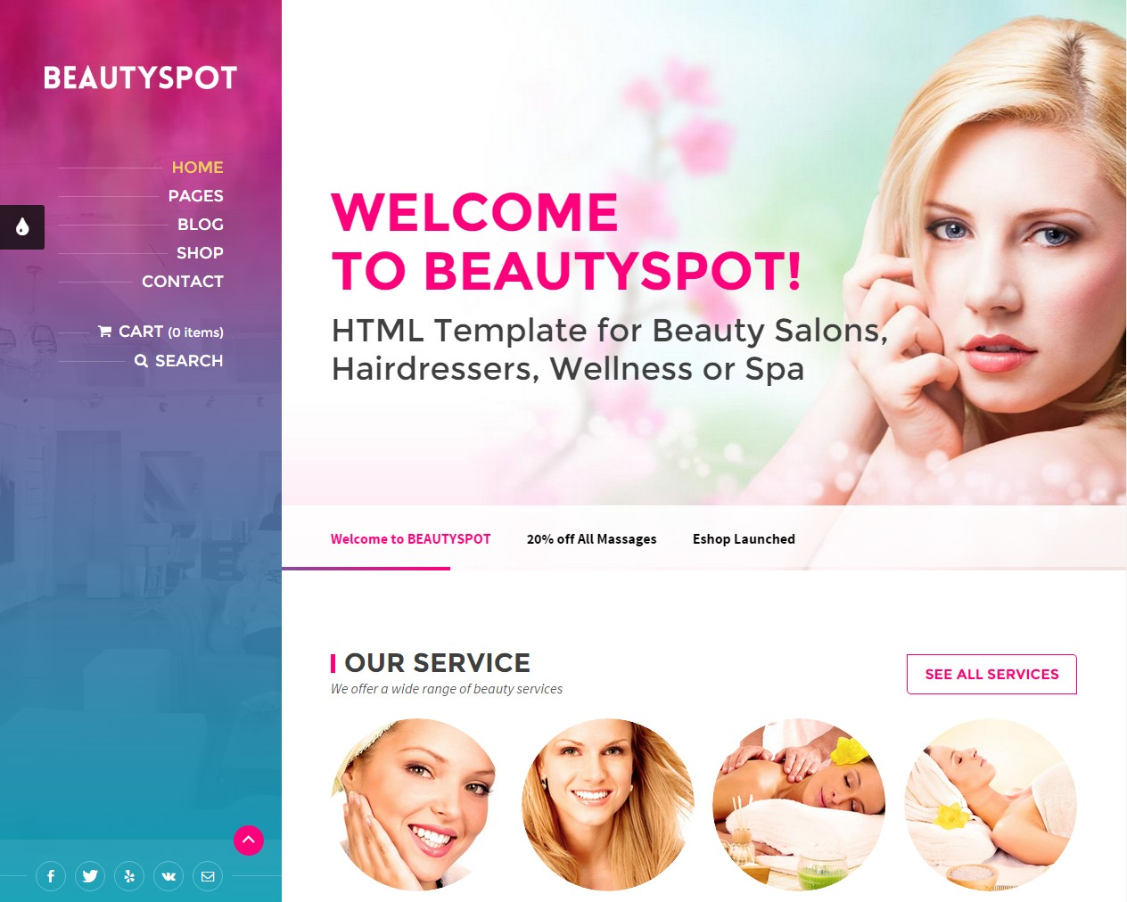 theme wordpress cosmétique massage manucure