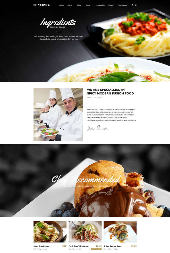 theme wordpress restaurant Capella