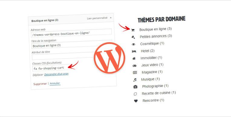 image wordpress ajouter des icones menu