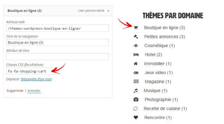 icone dans menu wordpress