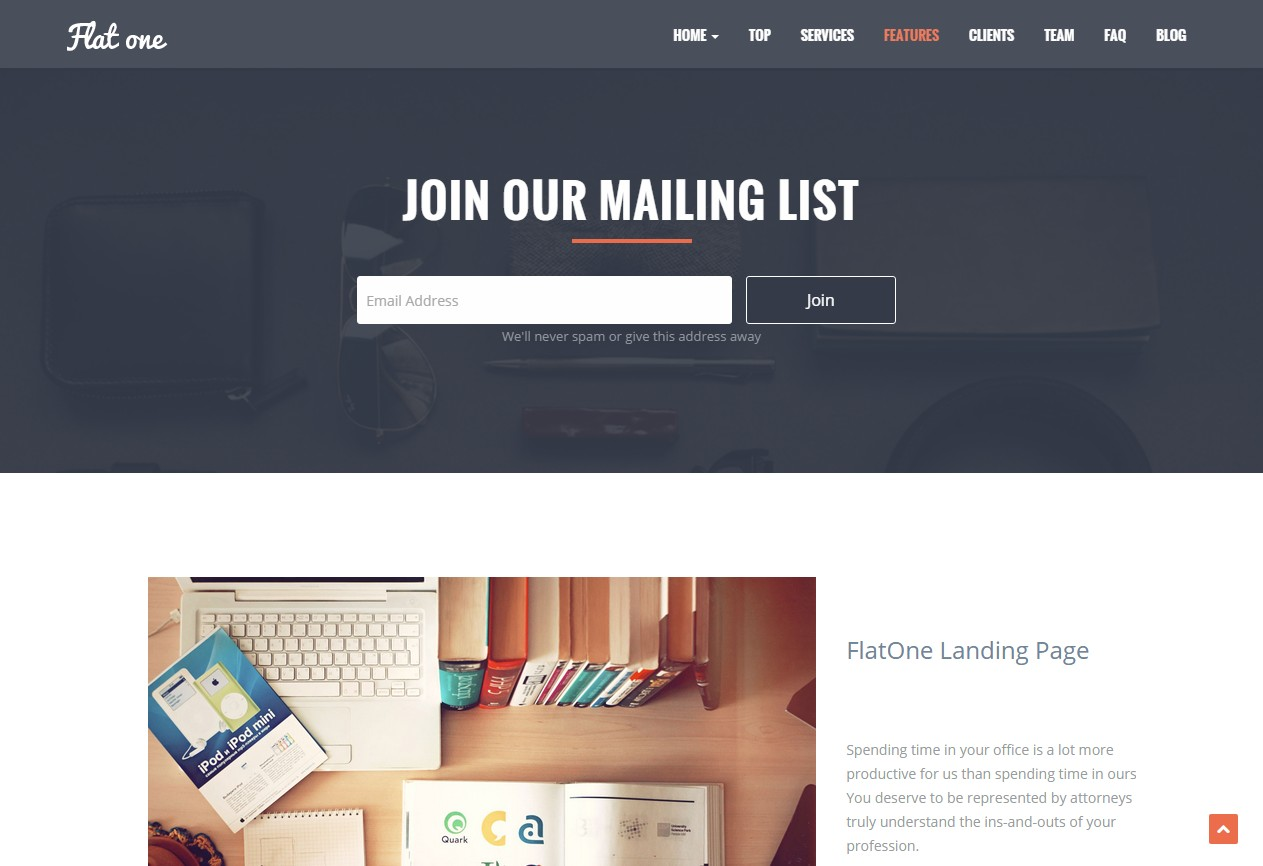 theme landing page wordpress flat one