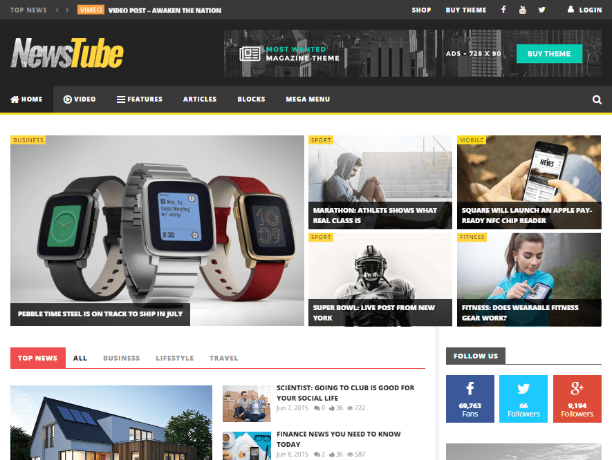 theme magazine wordpress newstube