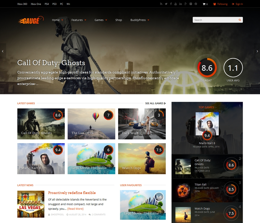 theme wordpress jeux video gauge