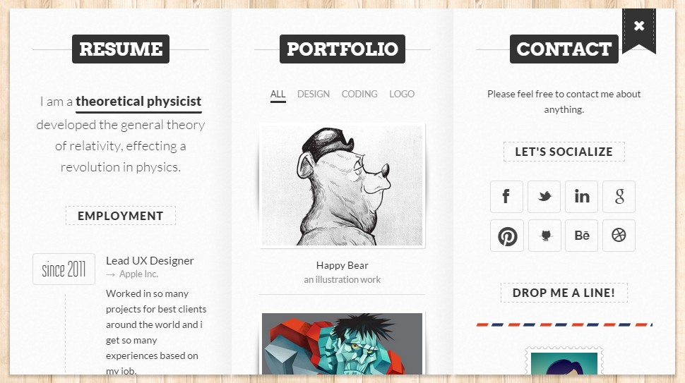 theme bookcard portfolio