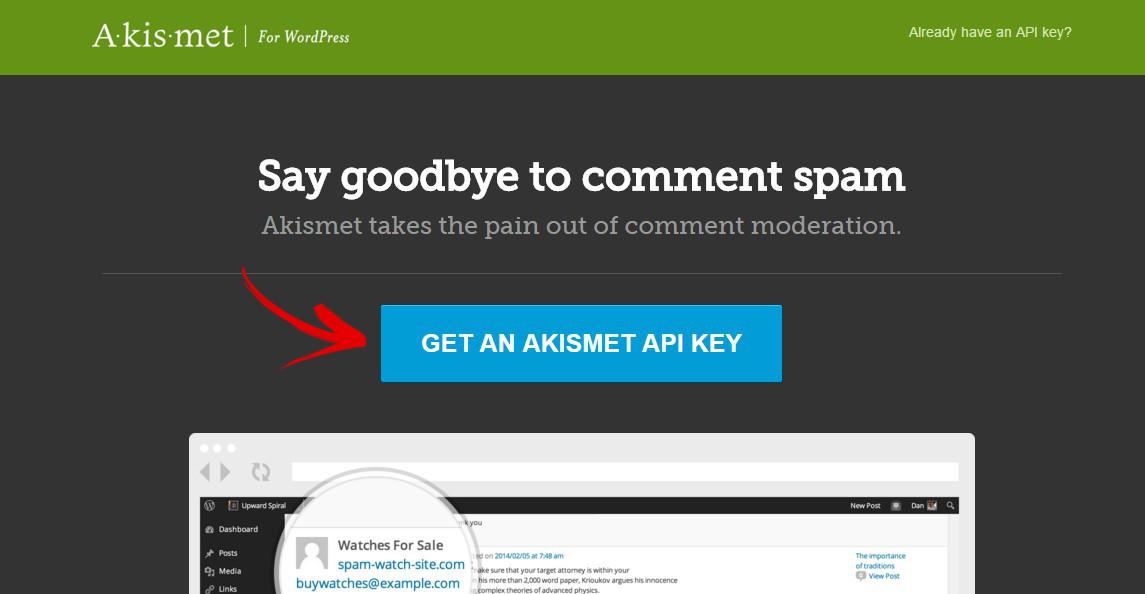 akismet.com au revoir commentaire spam