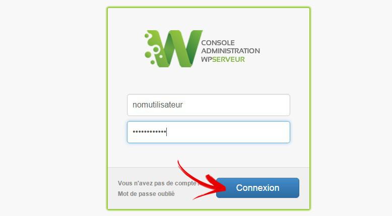connexion console wpserveur