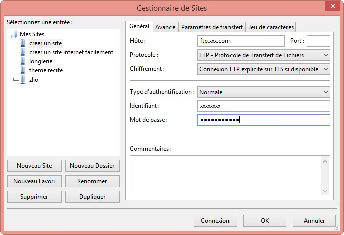 gestionnaire de site filezilla installer