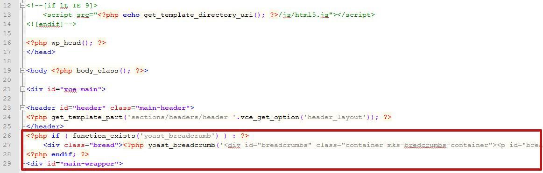 header fil ariane code