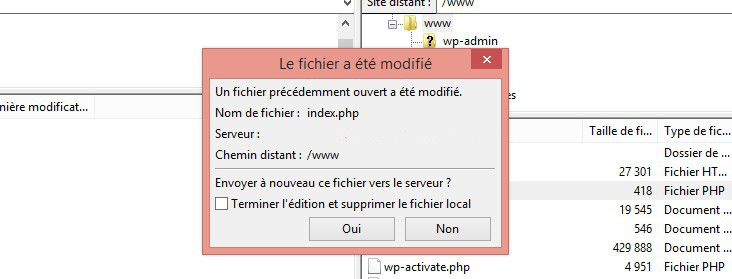 modifier et enregistré fichier ftp