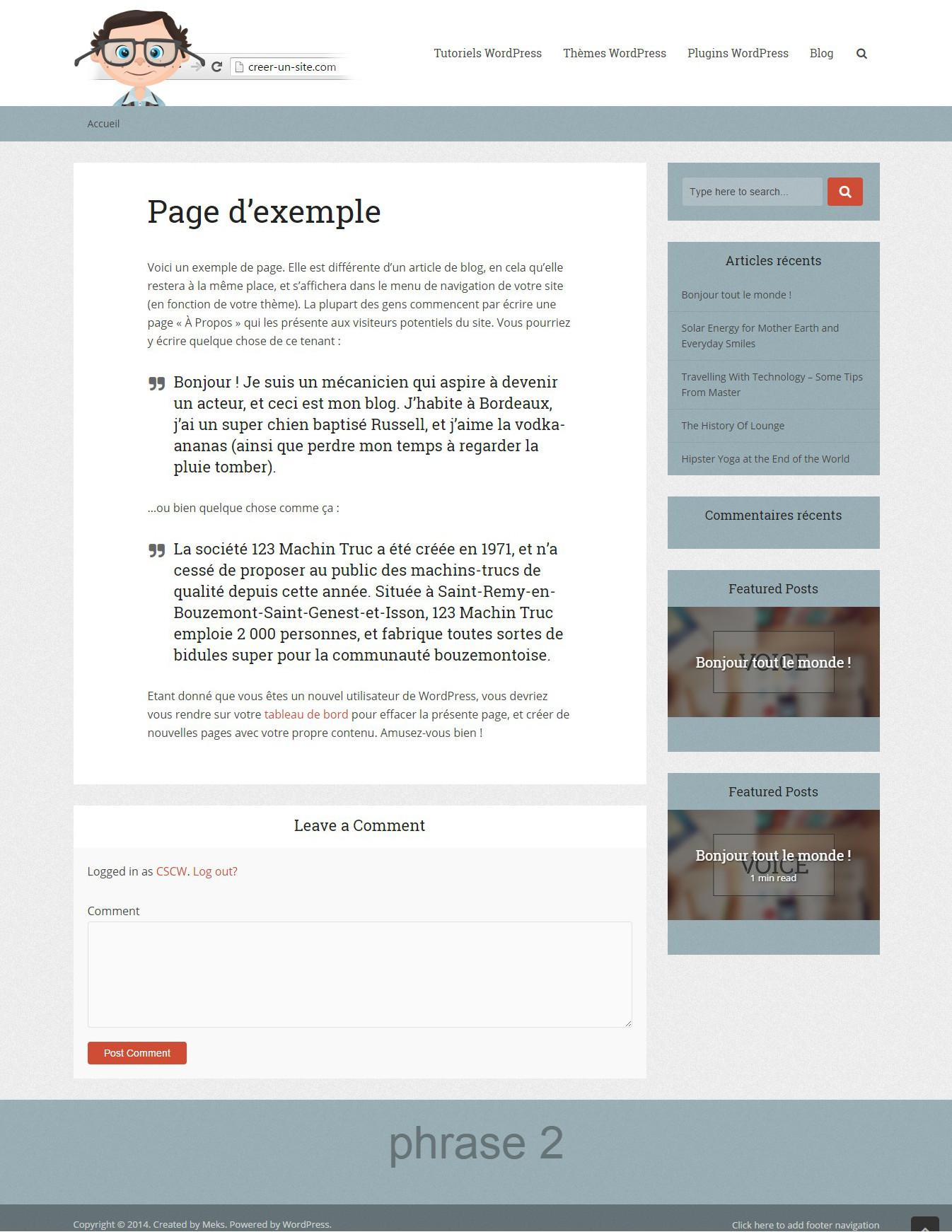 personnalisation theme wordpress resultat final