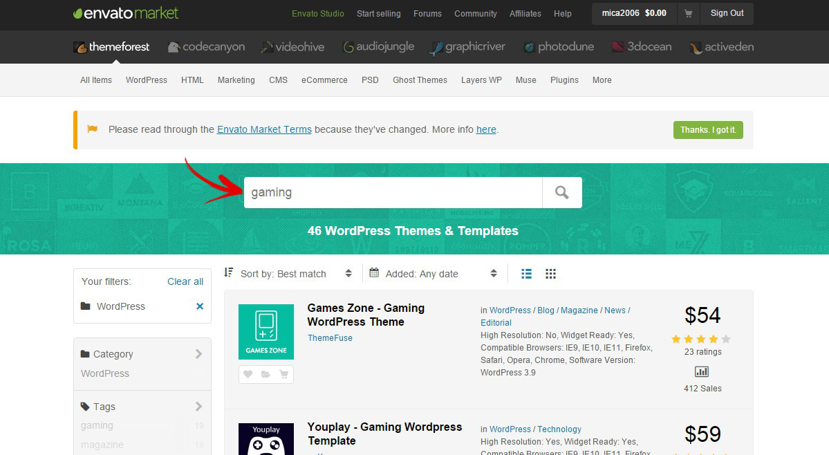 rechercher theme wordpress themeforest