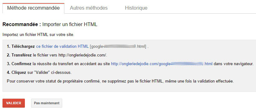 confirmer propriétaire webmasters tools