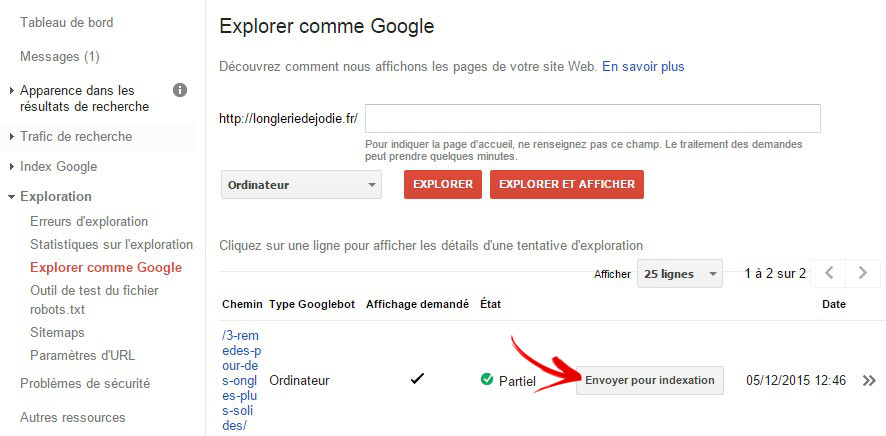 envoyer pour indexation webmasters tools