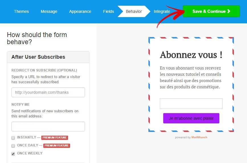 option mailchimp forms