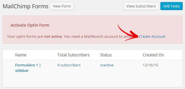 ouvrir compte mailchimp forms