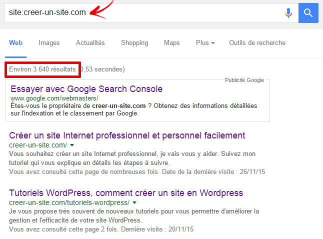 requete google site indexer