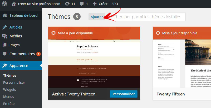 bouton ajouter un theme wordpress