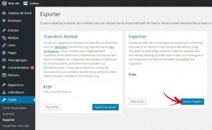 exporter donnée wordpress