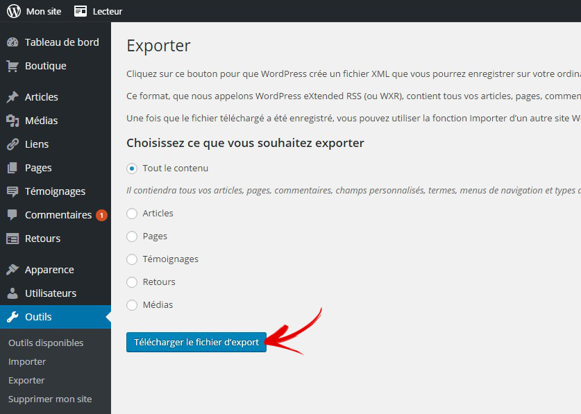 exporter donnée wordpress2