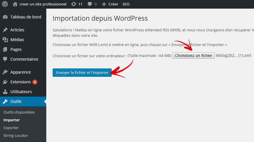 importer fichier xml wordpress