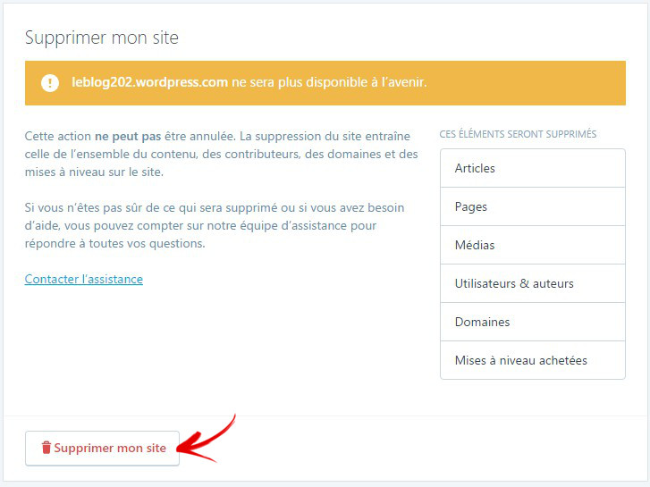 supprimer blog wordpress com