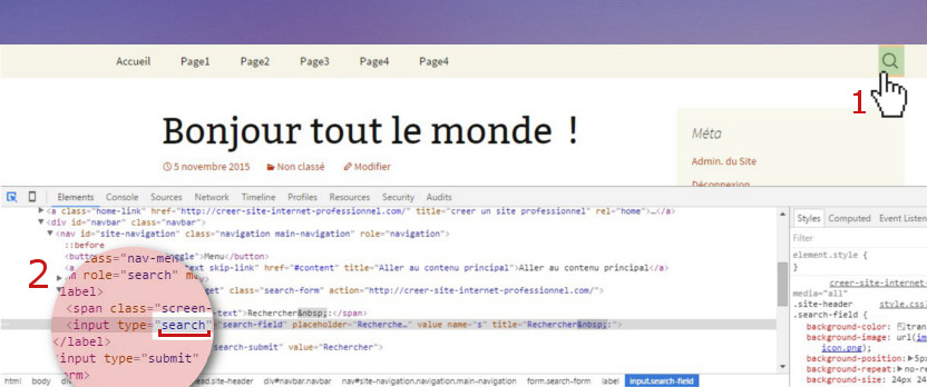 supprimer recherche theme wordpress