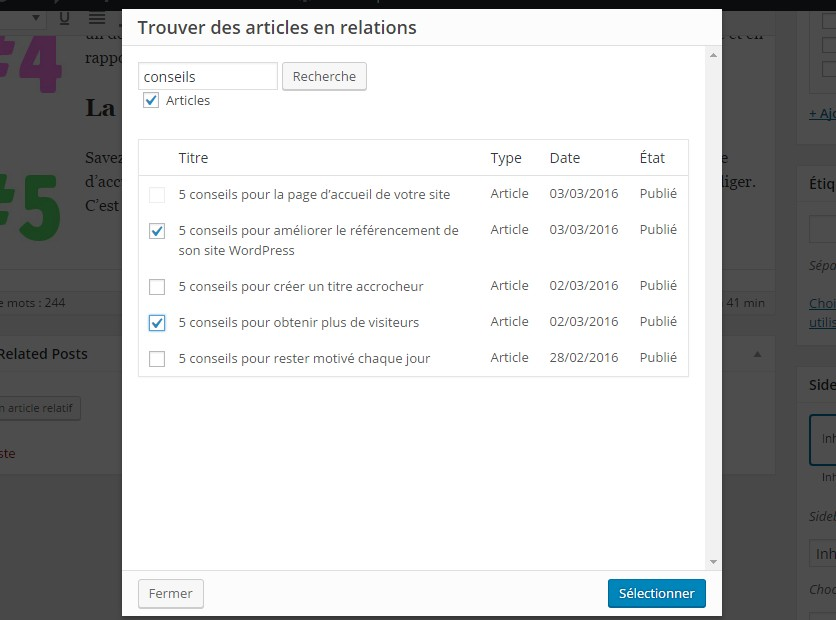 popup choix article similaire plugin manual related post