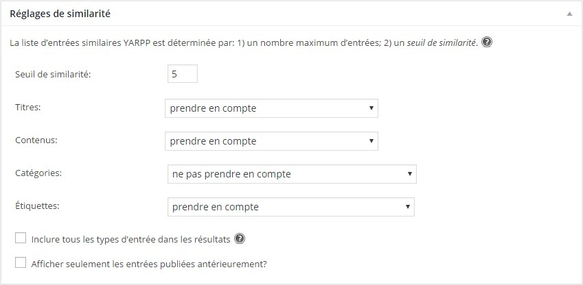 régalges de similarité plugin Yet Another Related Posts Plugin