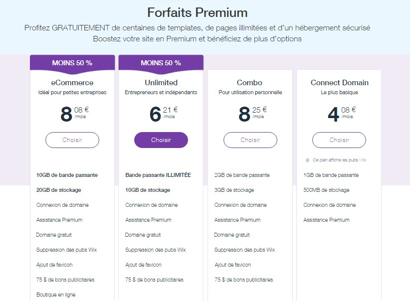 forfait premium et tarif wix