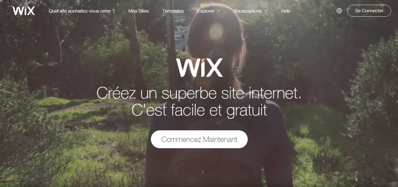 page accueil wix
