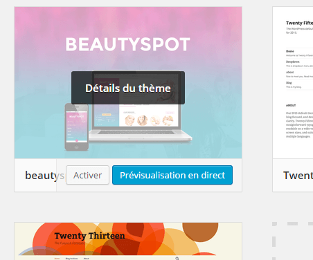 activé theme wordpress