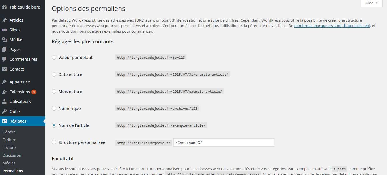 configuration permaliens créer un site wordpress