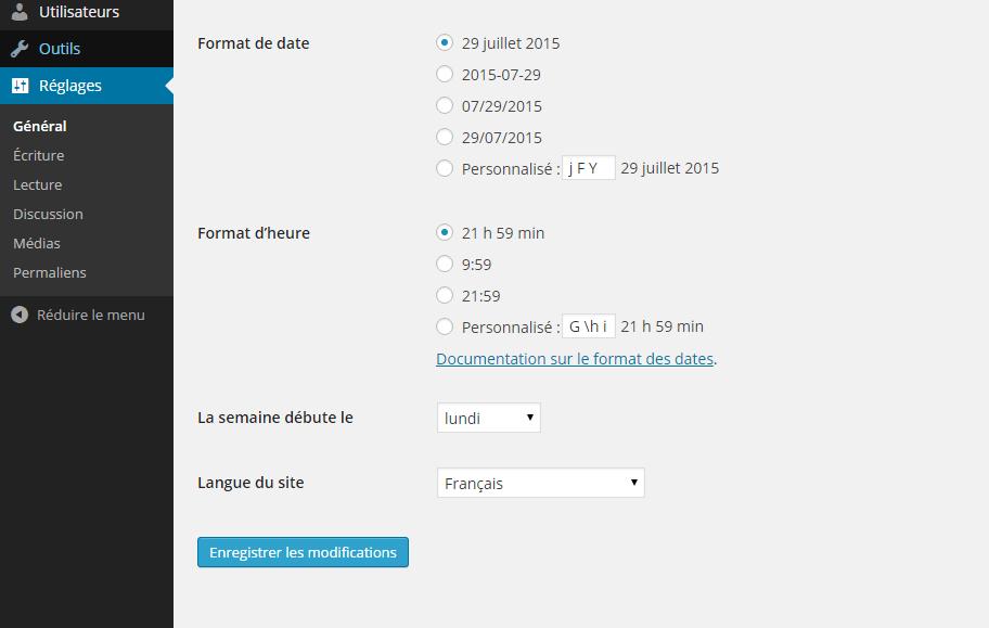 mettre wordpress en francais