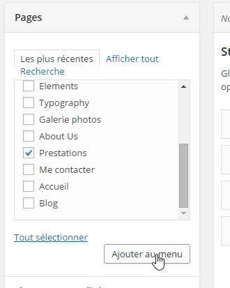 Ajouter un onglet menu wordpress