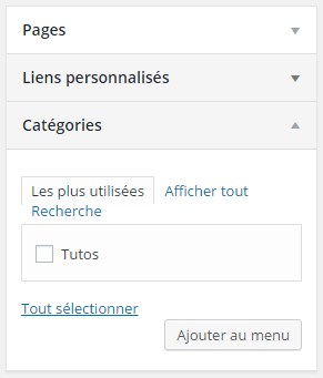 Categorie menu wordpress administration
