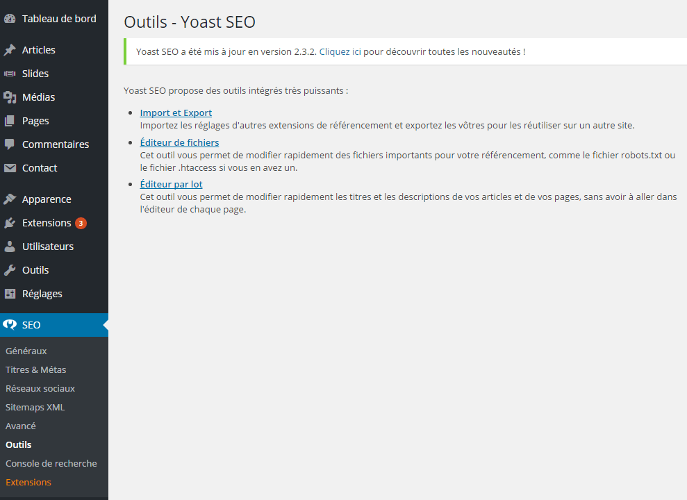 editeur yoast seo htaccess optimisation