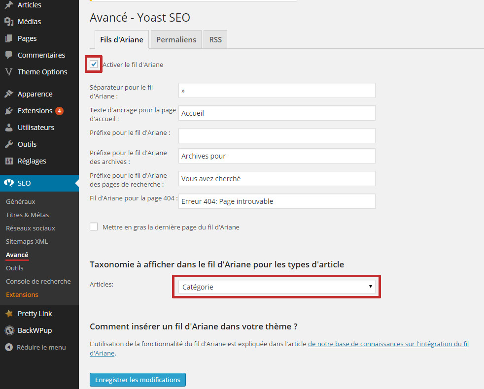 fil ariane breadcrumb yoast seo referencement