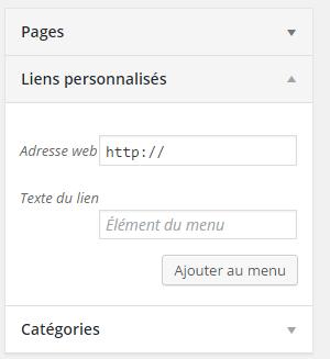 lien personnalisé menu wordpress