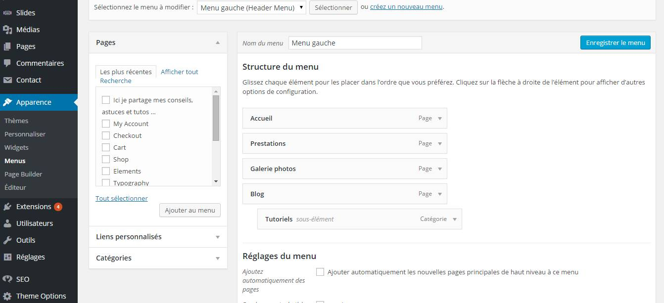 menu administration wordpress