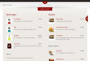 menu creer un site restaurant