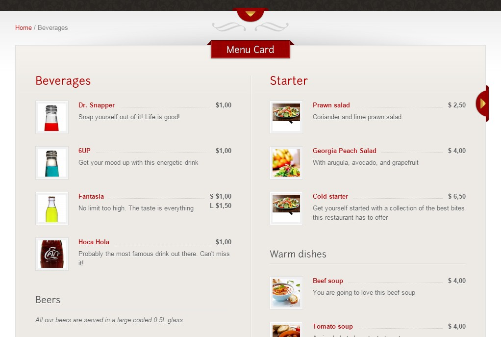 menu carte theme the restaurant