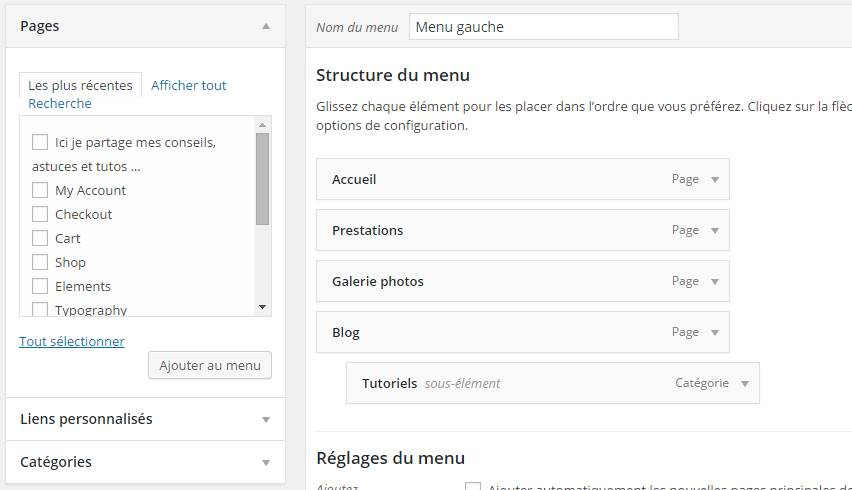 sous menu administration wordpress